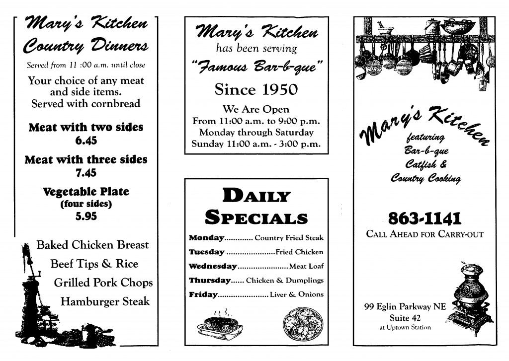 Mary's Kitchen Menu-1